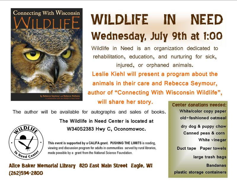 Wildlife in need and author visit