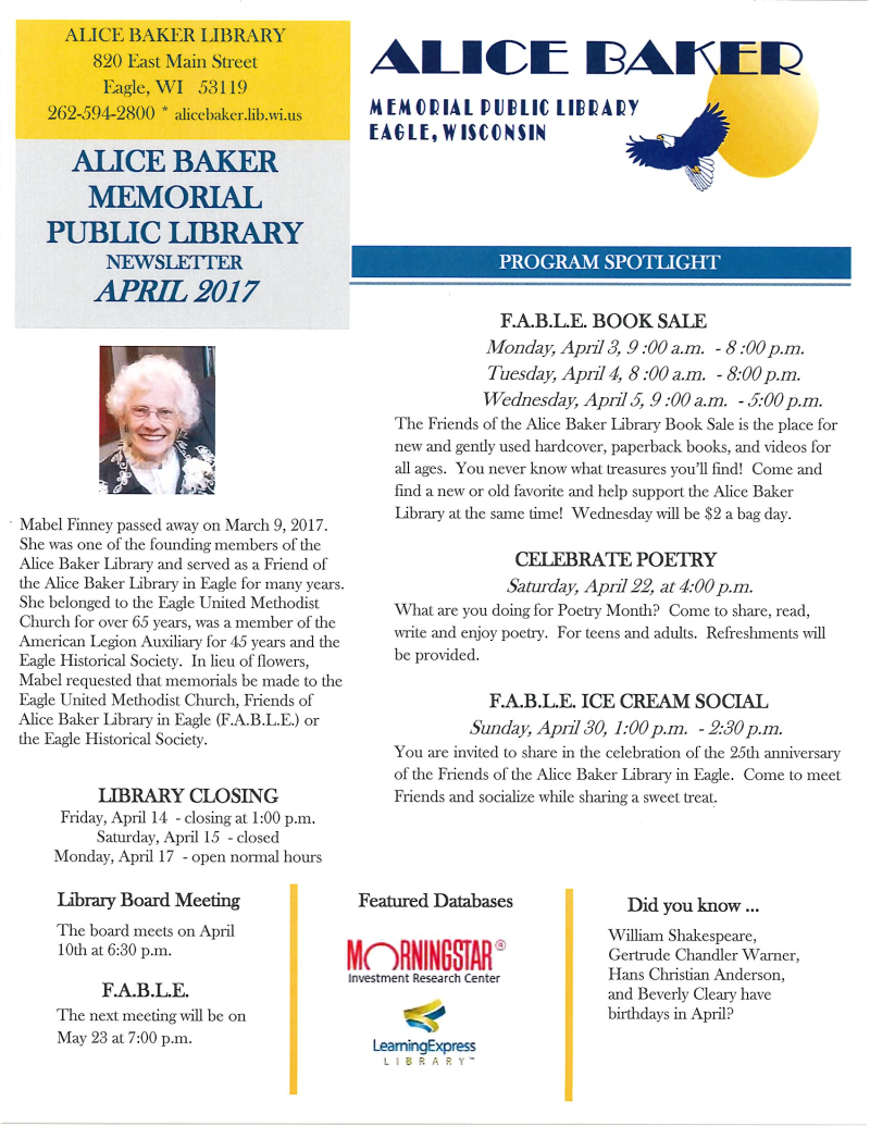 April 2017 library newsletter page 1