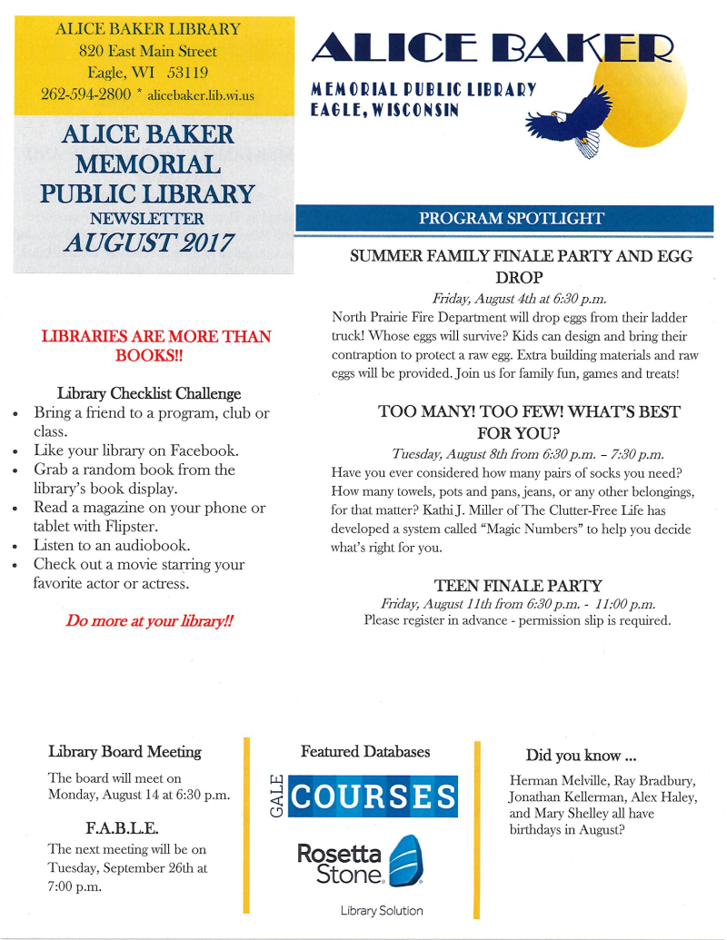 August 2017 library newsletter page 1