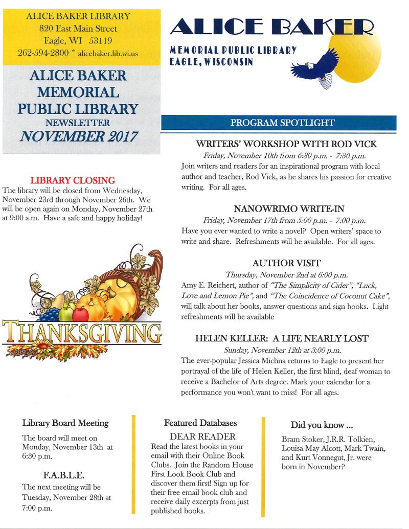 November 2017 newsletter page 1