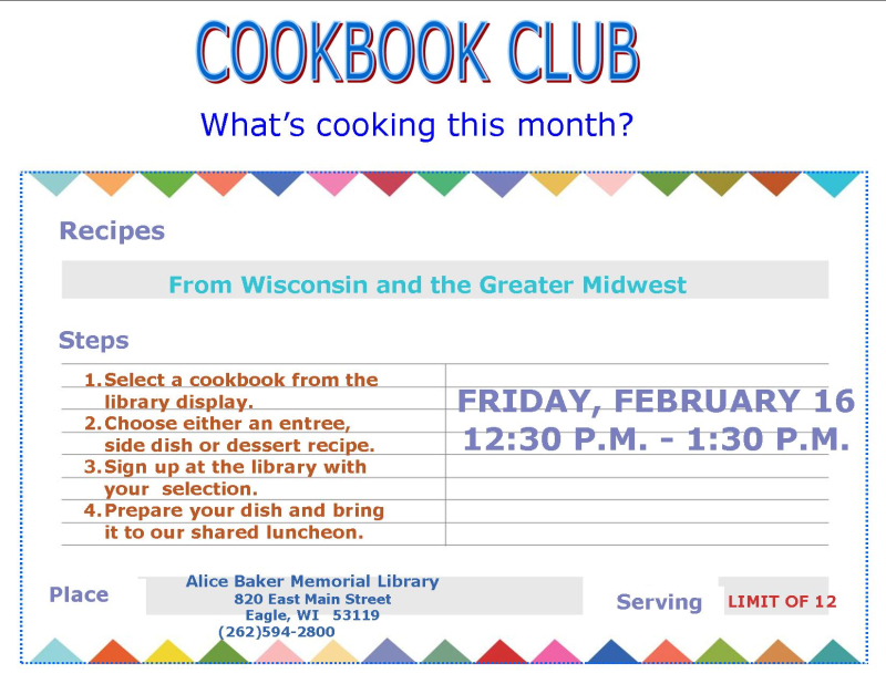 Cookbook Club Feb 2018