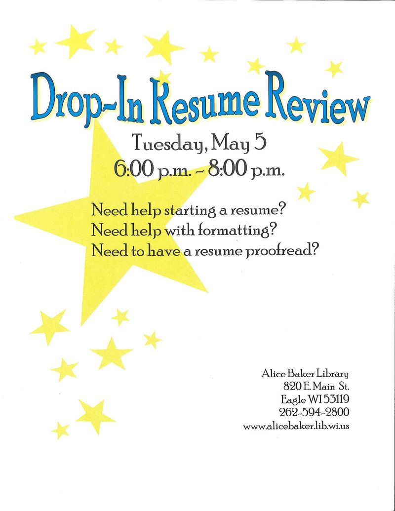 Drop-In Resume Review