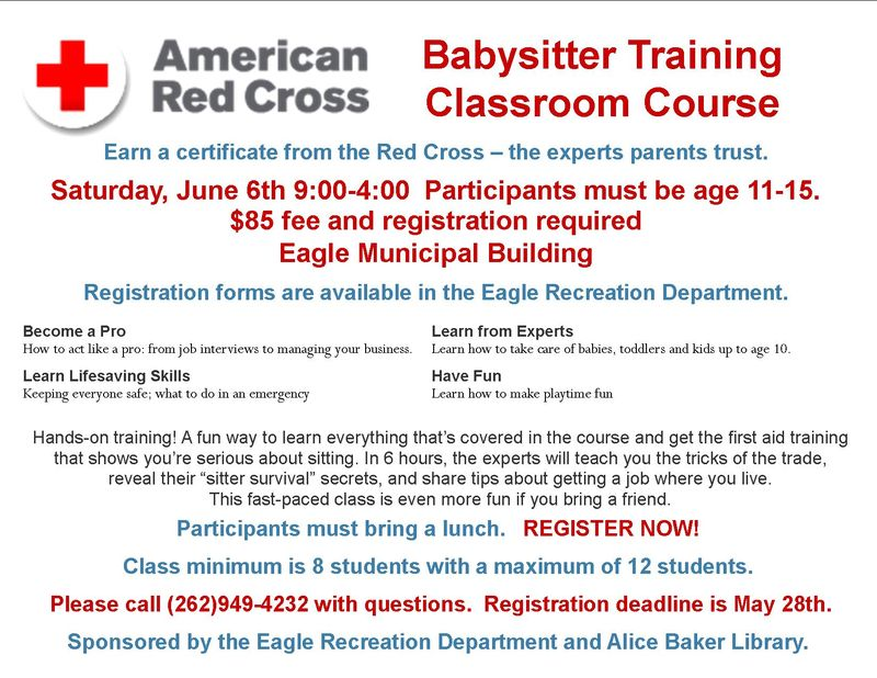 Red Cross  babysitter training