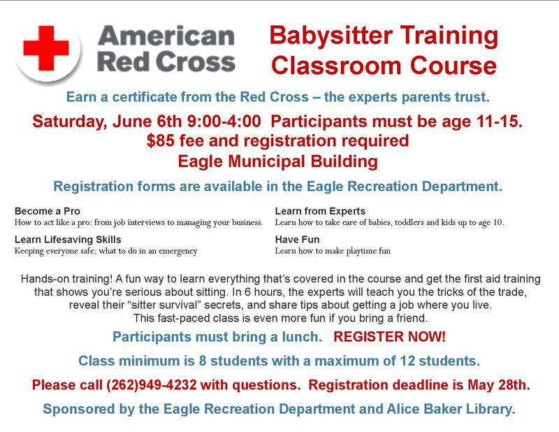 Red Cross  babysitter training