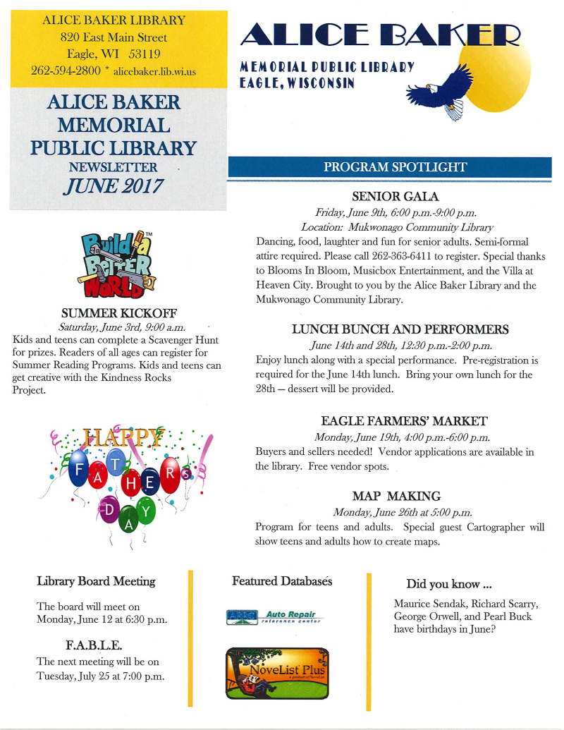 June 2017 library newsletter page 1