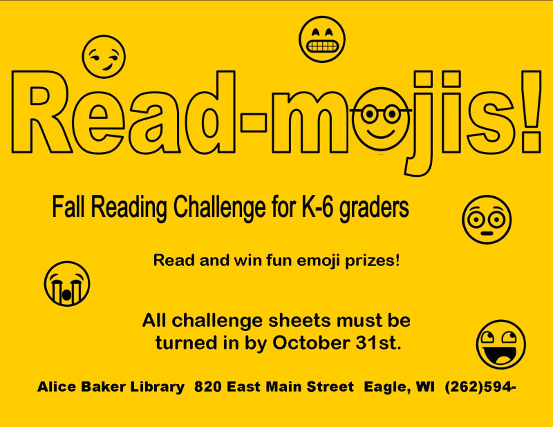 Read-moji fall reading yellow challenge flyer for digital use only