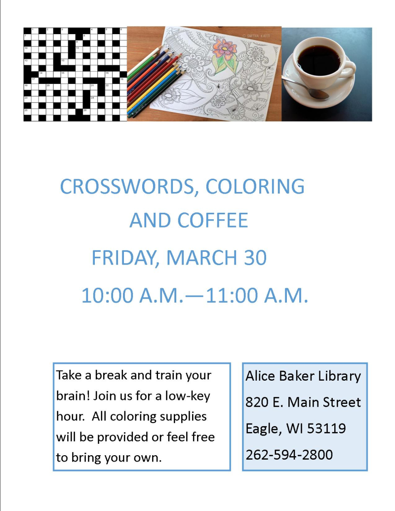 Crosswords  Coloring and Coffee MAR