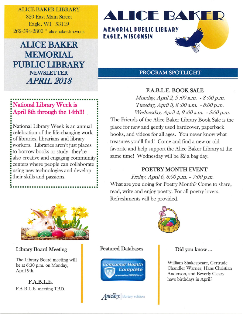 April 2018 library newsletter page 1