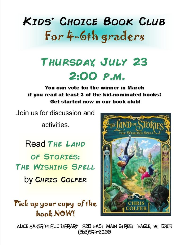Kids choice book club 2015-16