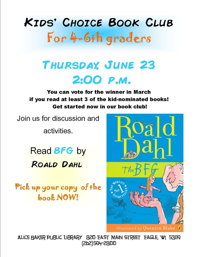 Kids choice book club 2016
