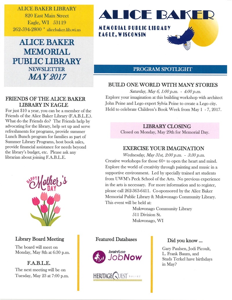 May 2017 library newsletter page 1