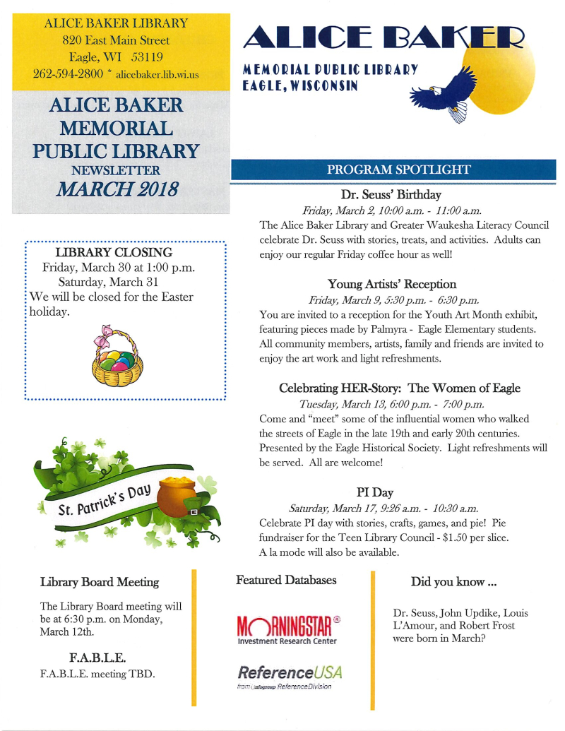 March newsletter page 1