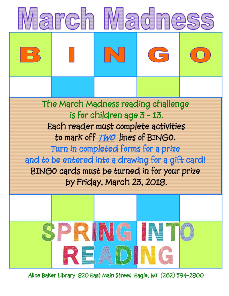March madness spring bingo sign