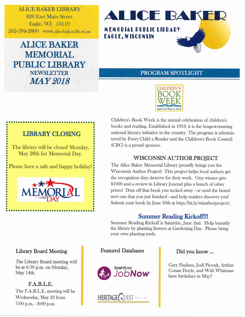 May 2018 library newsletter page 1