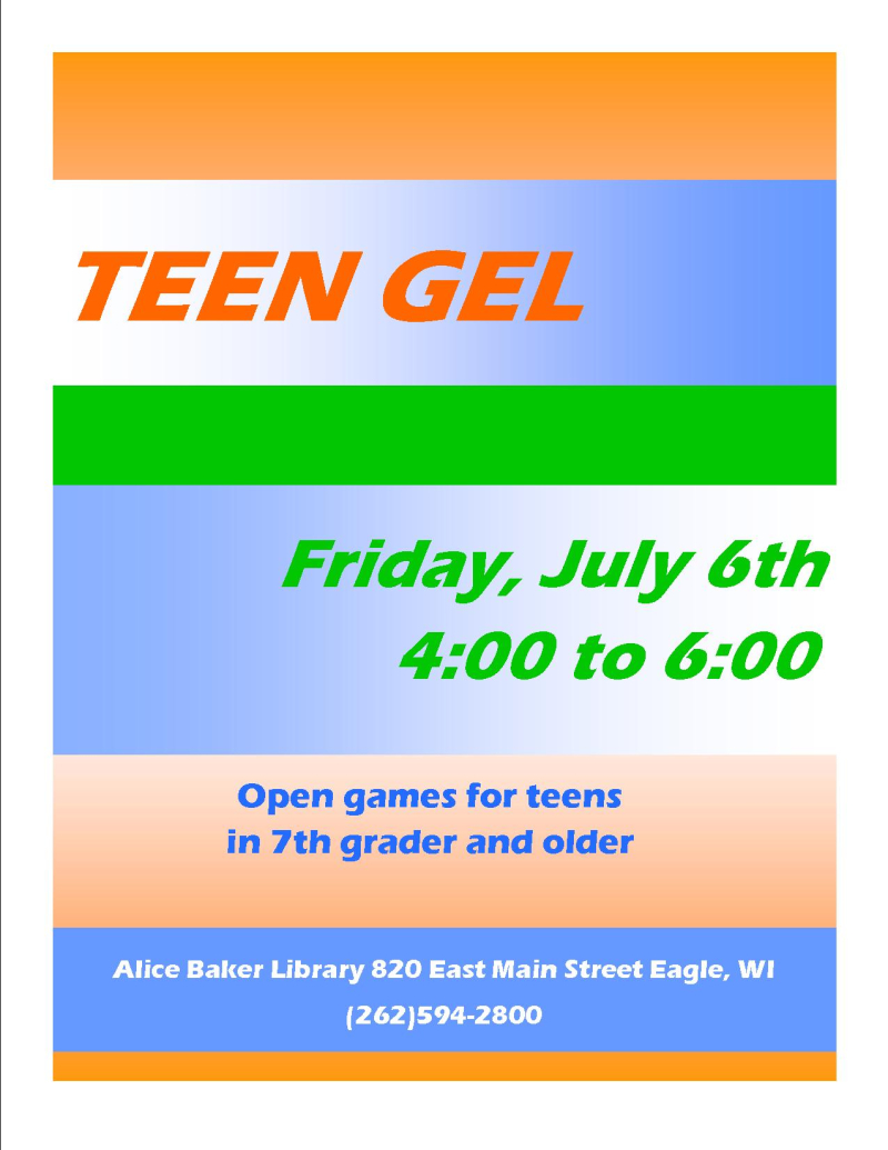Teen gel july