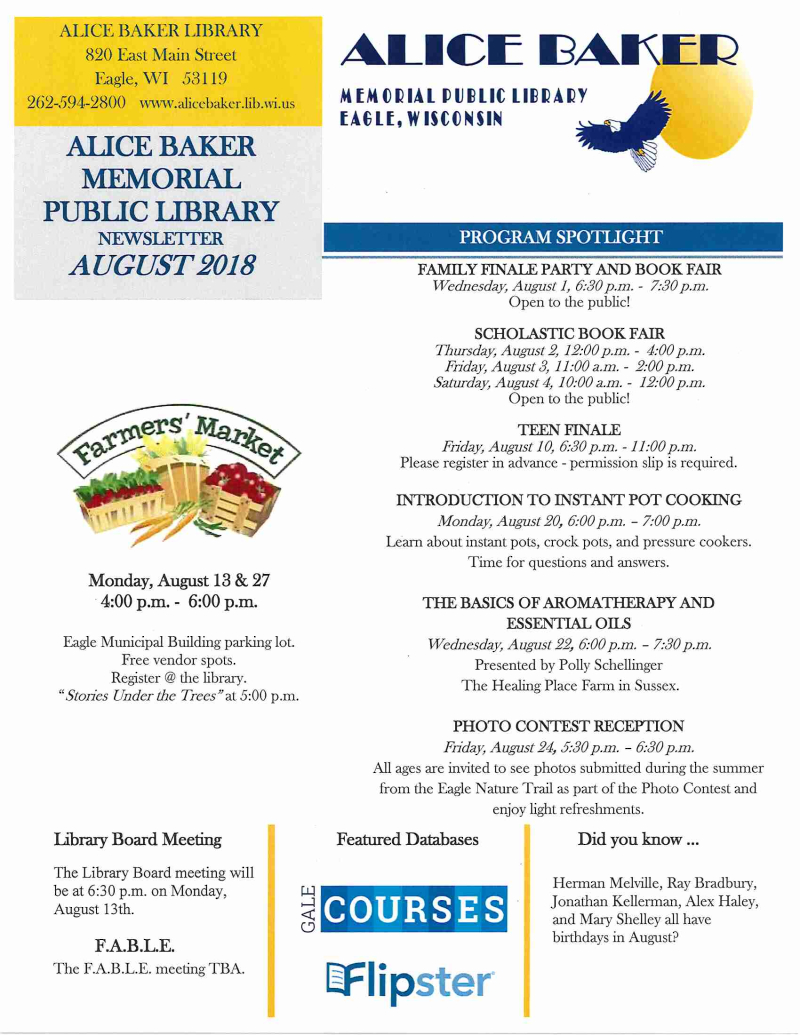 Library newsletter August 2018 page 1