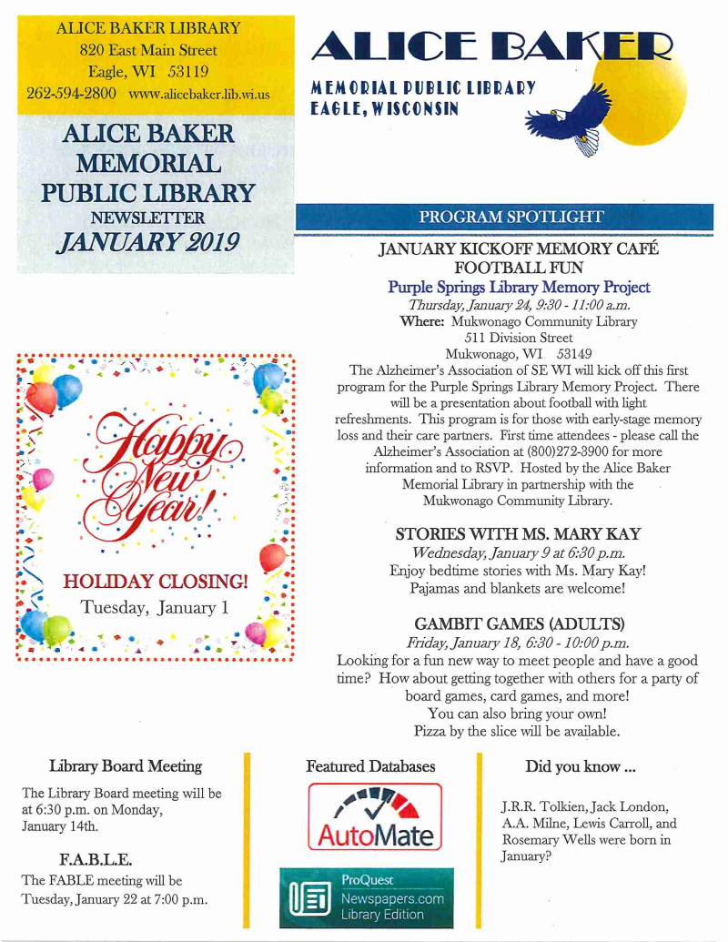 JAN 2019 newsletter page 1