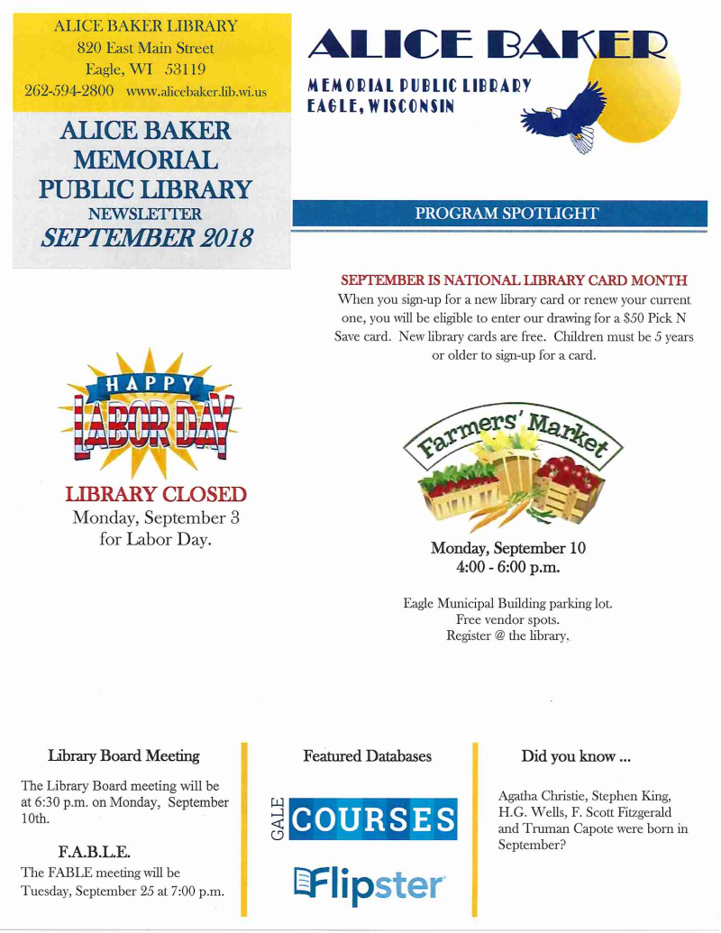 Library newsletter September 2018 page 1