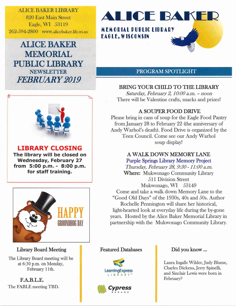 FEB 2019 page 1 newsletter
