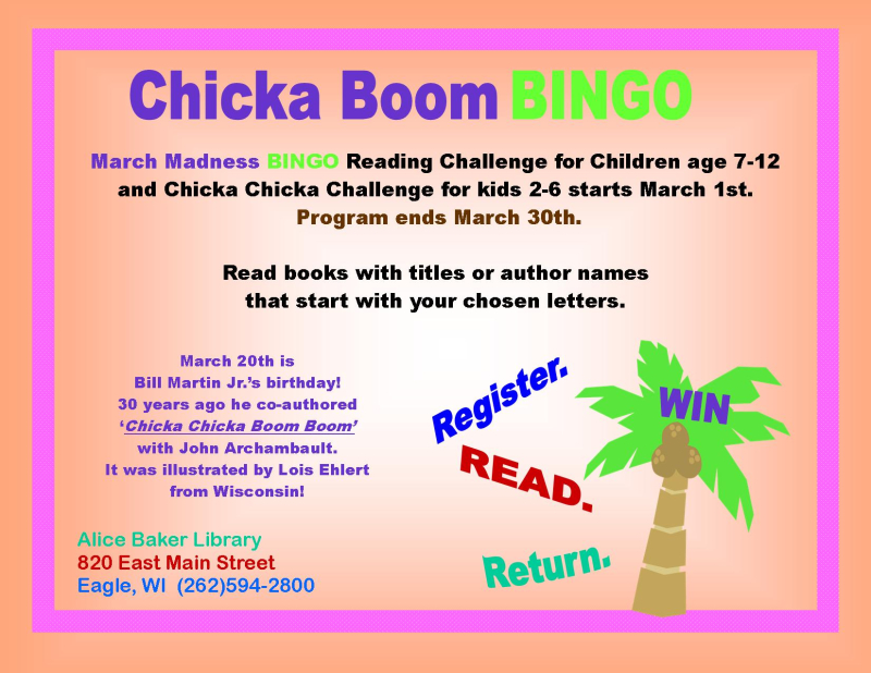Chicka boom bingo sign