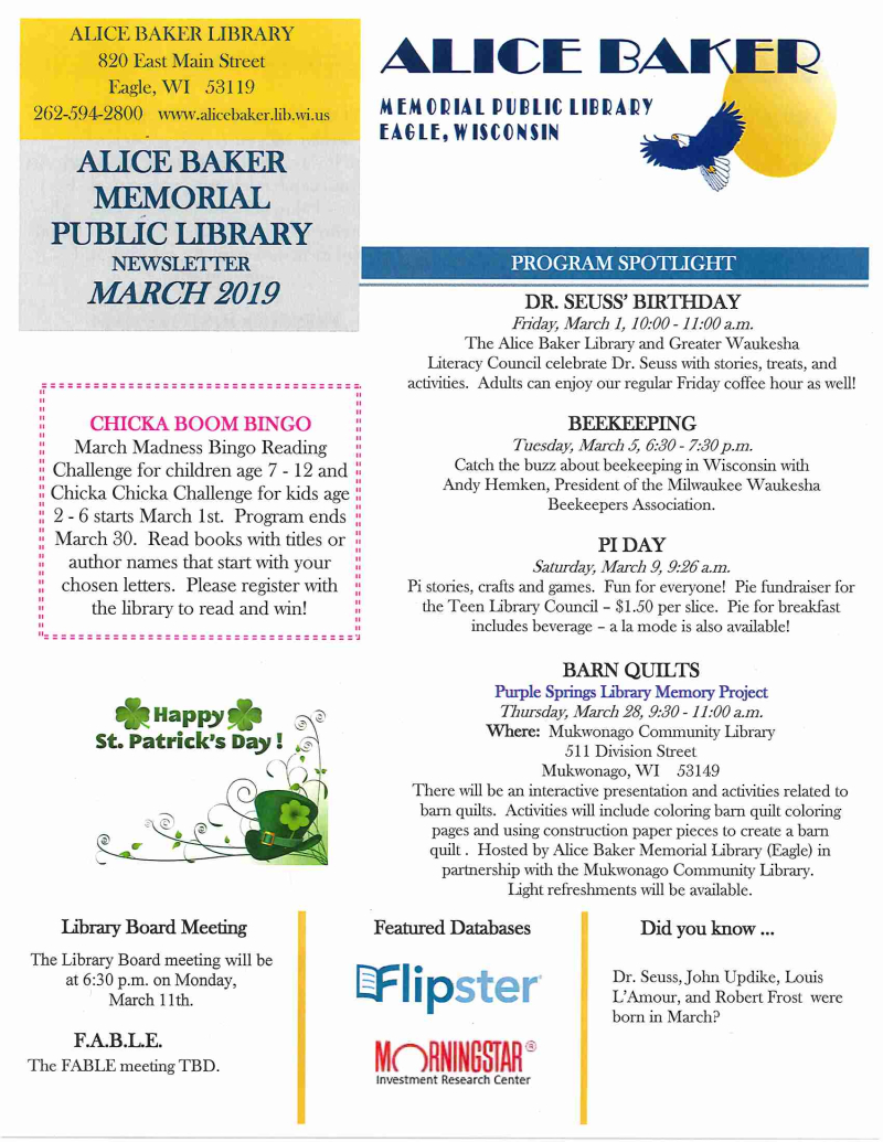 March 2019 library newsletter page 1