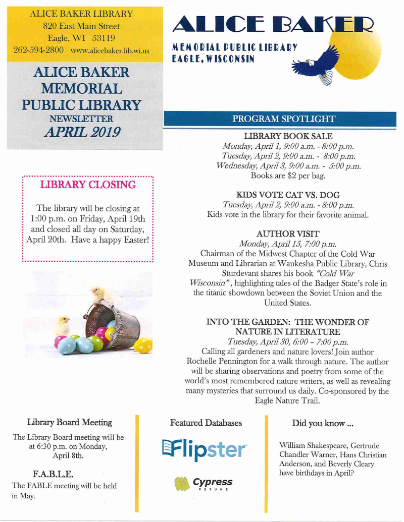 APR 2019 library newsletter page 1