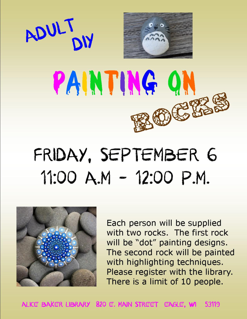 Adult DIY rock painting SEPT 2019