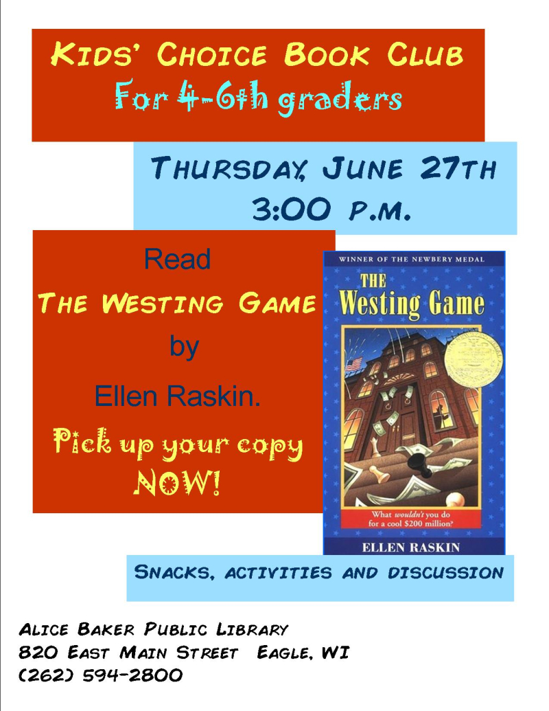 Kids choice book club june 19