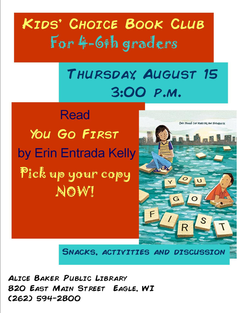 Kids choice book club  august 19
