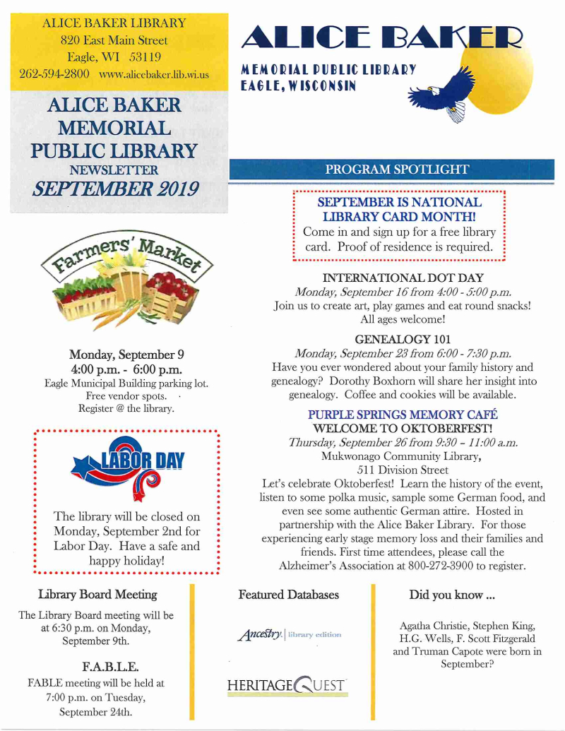 SEPT 2019 library newsletter page 1