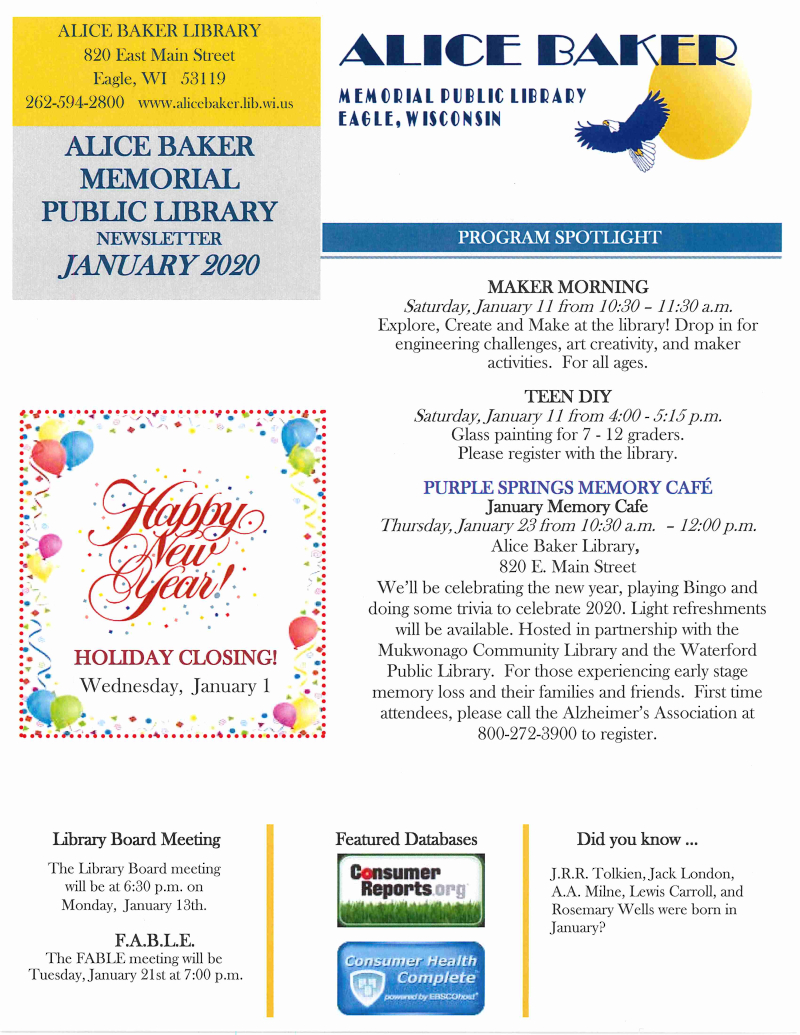 January 2020 library newsletter page 1