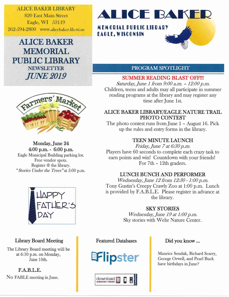 June 2019 newsletter page 1