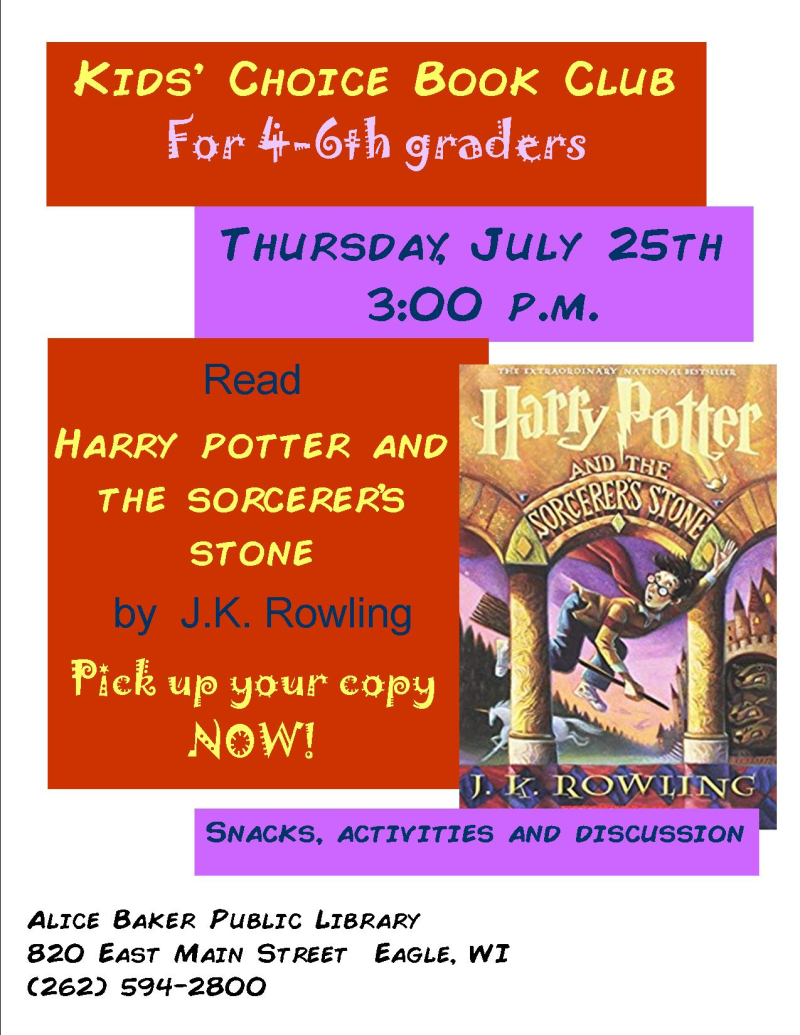Kids choice book club july 19