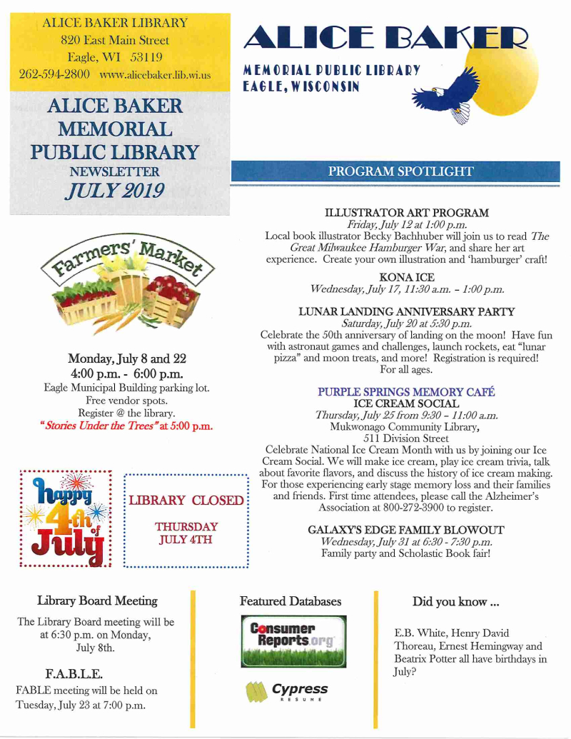 July 2019 library newsletter page 1