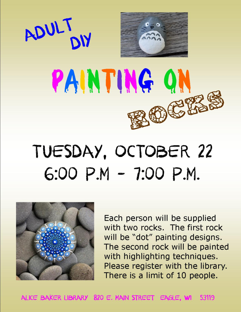 Adult DIY rock painting OCT 2019