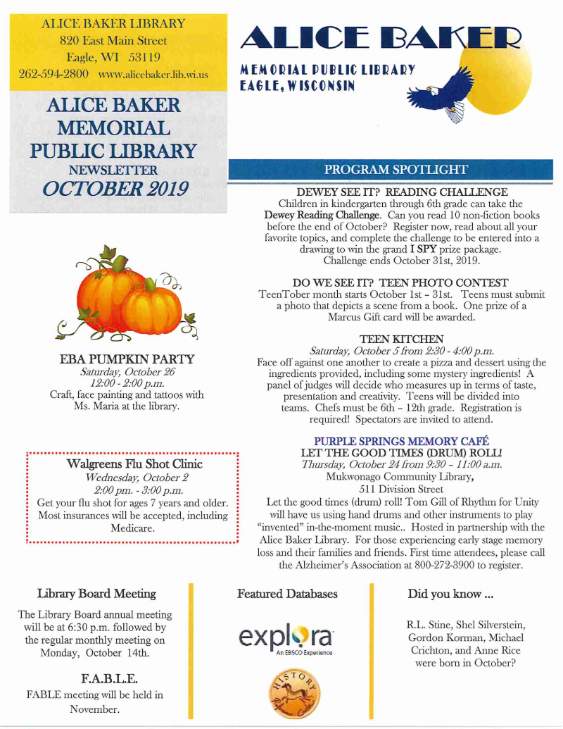 OCT 2019 library newsletter page 1