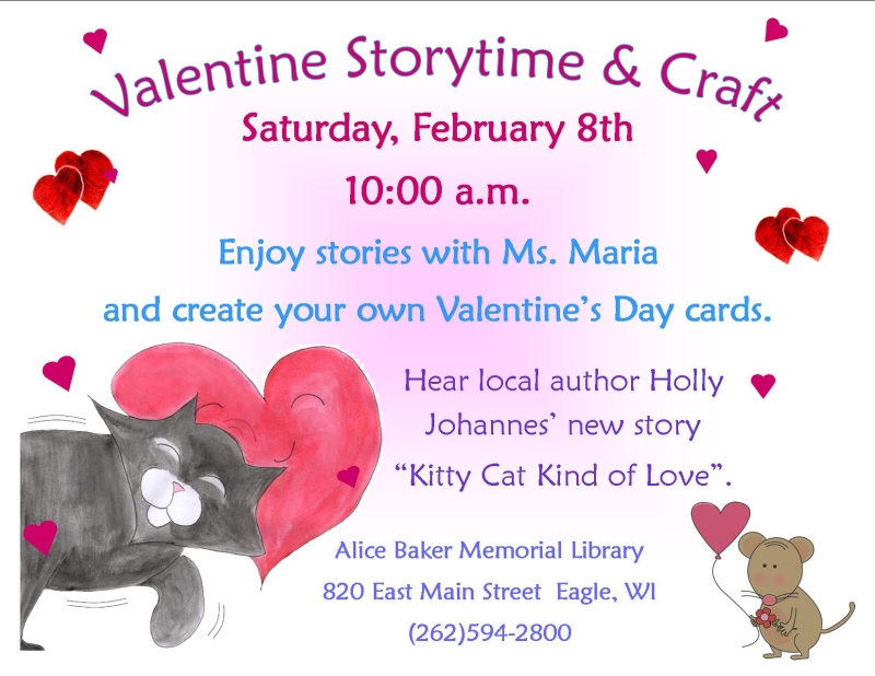Valentines storytime and craft with Johannes