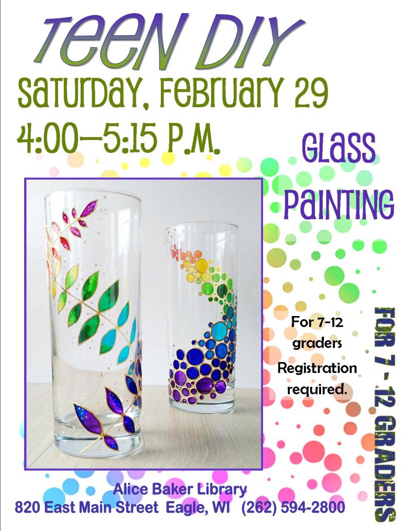 Teen diy glass painting