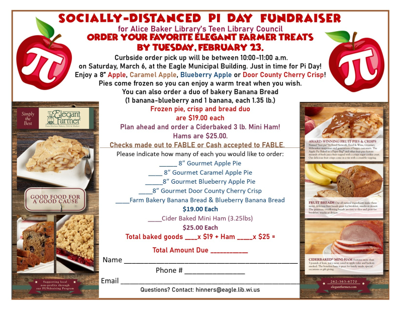 Pi day fundraiser order form