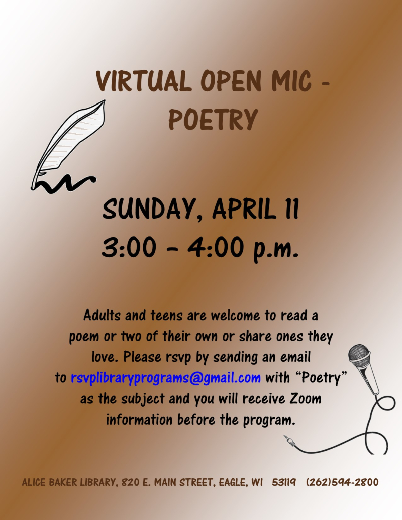 Virtual open mic poetry