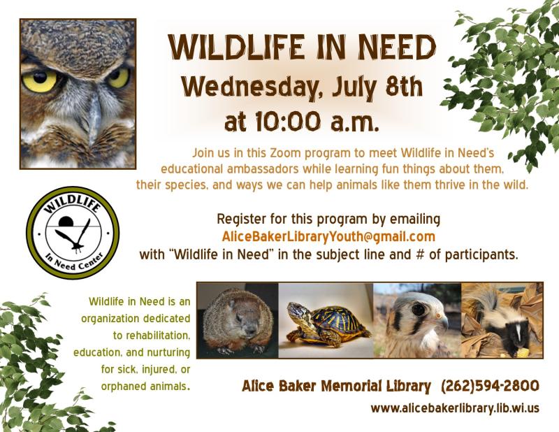 Wildlife in need virtual program
