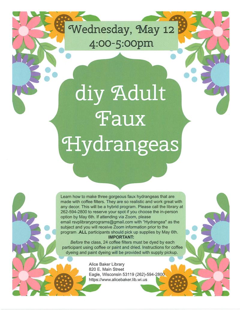 Adult DIY Faux Hydrangeas