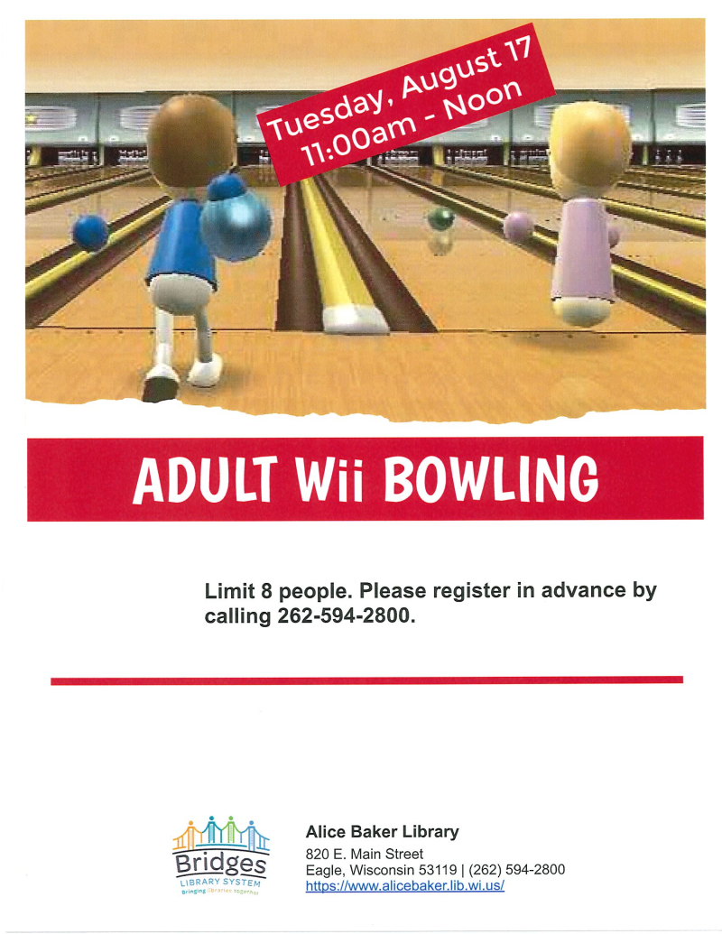 Adult Wii Bowling (August)