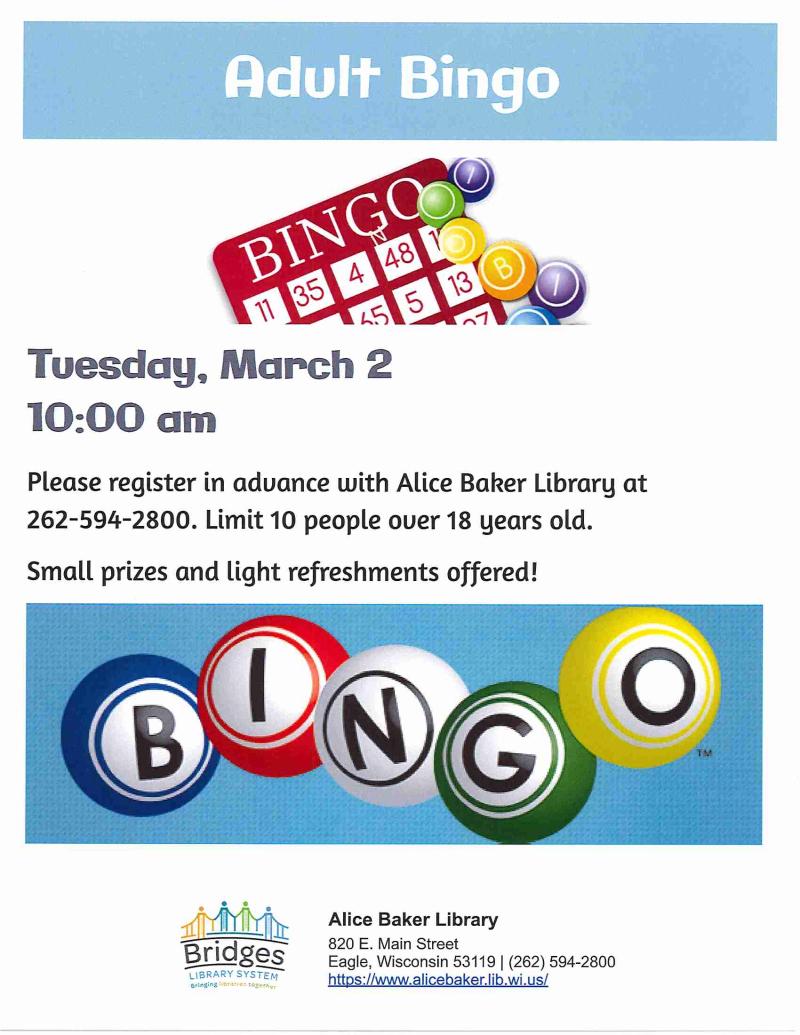 Adult Bingo 3-2-2021