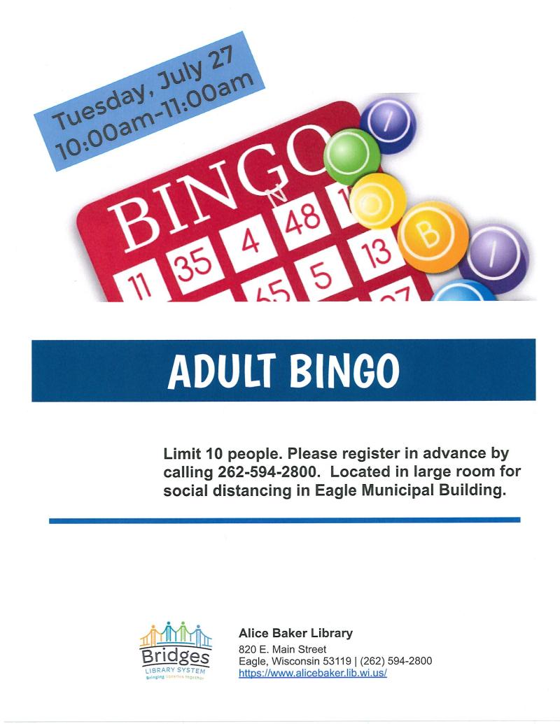 Adult Bingo 7-27-2021