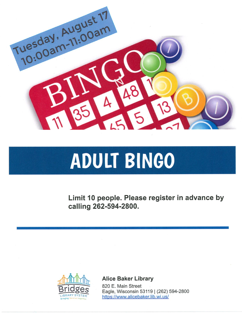 Adult Bingo (August)