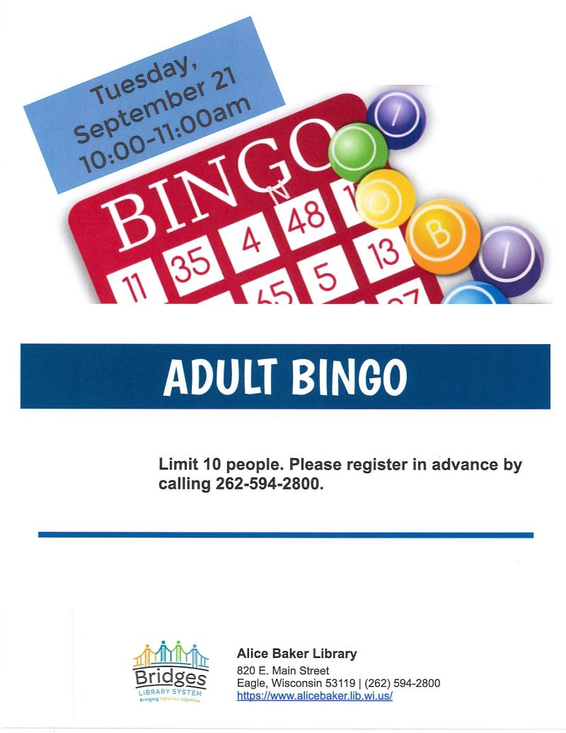 Bingo for Adults (September)